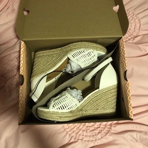 White 3-inch Open-Toed Wedges, Never Worn with Box